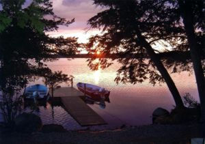 Dock at our Maine lake cabin rentals